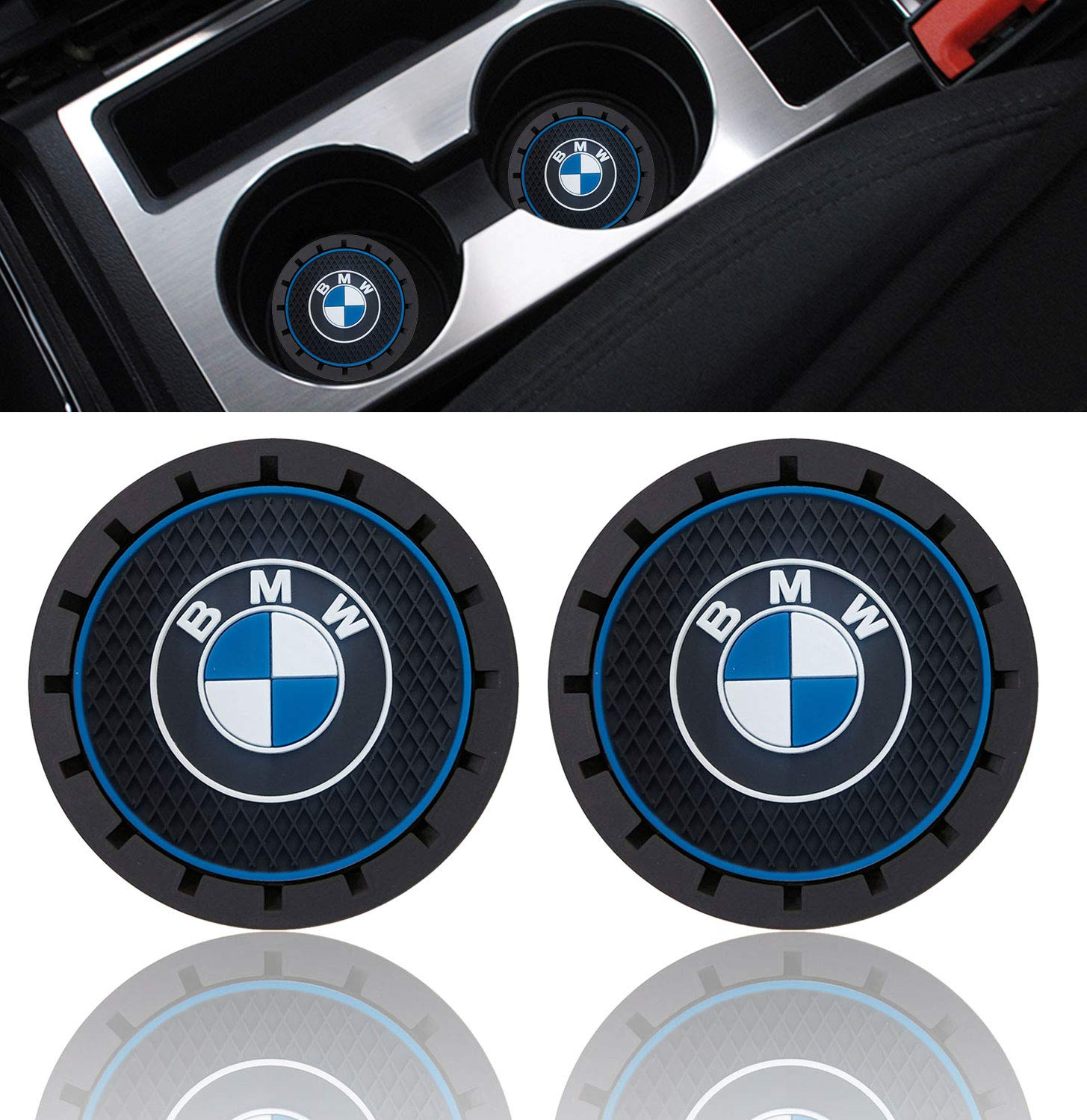 2pcs Durable Anti Slip Silicone Logo Cup Holder Mat for Jeep 99 Carpro Car Cup Holder Coaster for Jeep 2.8 Inch