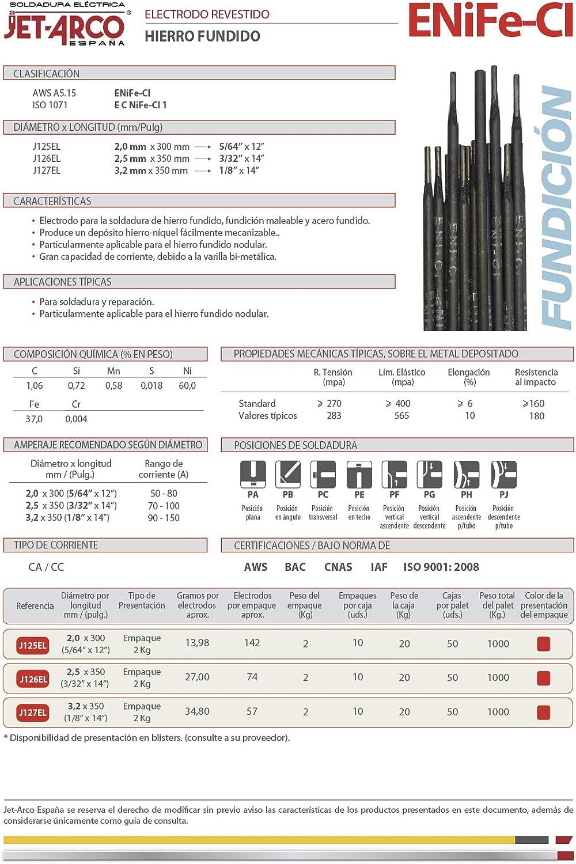 /Ø 3,2mm x 350mm. Paquete 2 Kg AWS A5.15 ENiFe-Ci Ref.: J127EL Electrodo base Niquel para soldadura de Acero Fundido JET-ARCO Espa/ña MMA
