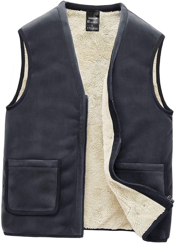 AIEOE Men's Zipper V-Neck Fleece Vest Winter Outdoor Warm Sleeveless Jacket Waistcoat Recreation Sports Vest