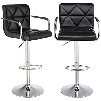 Groovy Songmics Set Of 2 Adjustable Swivel Bar Stool Chairs Counter Stools Breakfast Chairs With Arms And Back Pu Black Andrewgaddart Wooden Chair Designs For Living Room Andrewgaddartcom