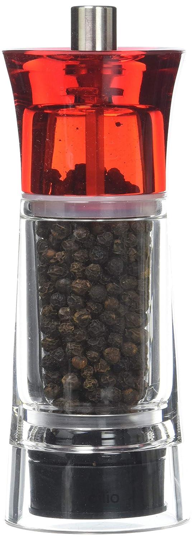 TopGourmet Cilio Genova Pepper Mill Acylic Clear Red 14 cm 600186 Salt_Pepper_Mills Tools_Gadgets_Barware peppermill