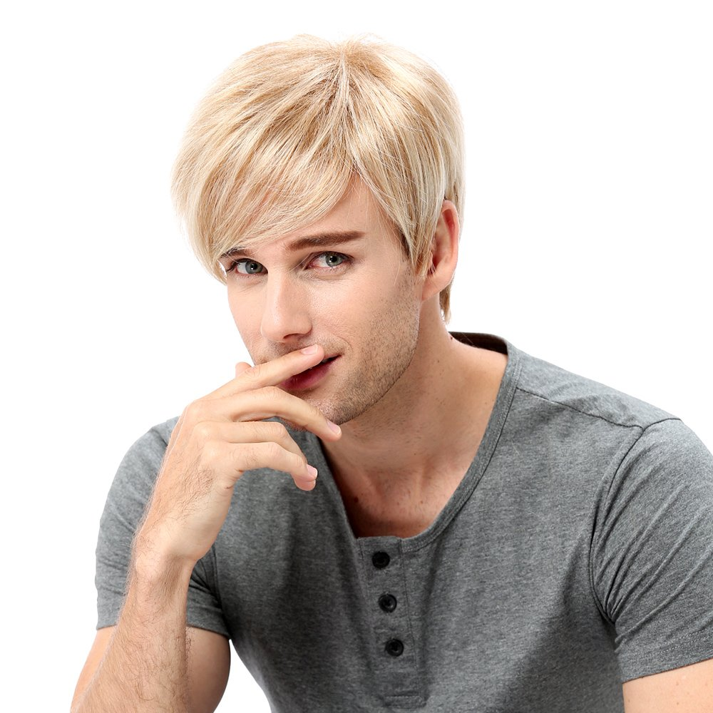 STfantasy Mens Wig Ombre Blonde Short Straight Synthetic Hair for Male Guy Everyday Daily Anime Cosplay Party w/Cap GF-W293#27T613