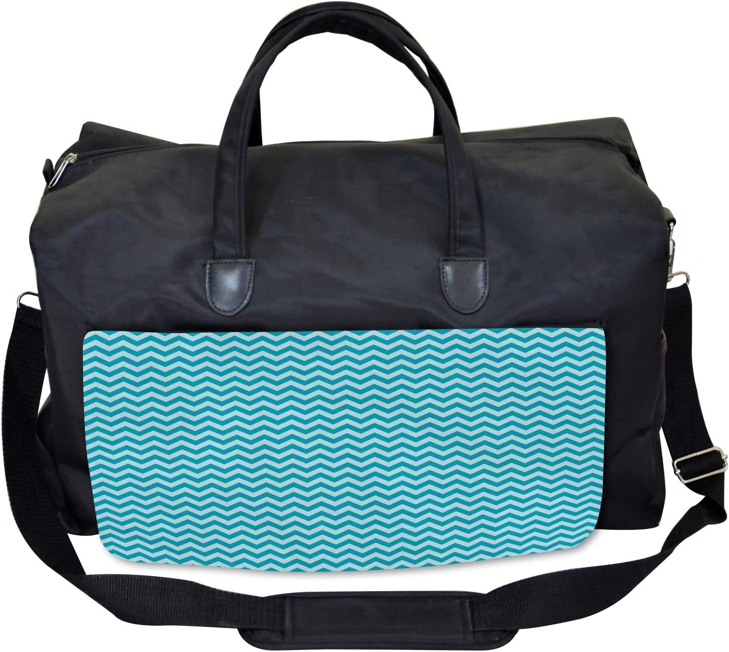 Large Weekender Carry-on Sea Colored Zigzags Ambesonne Chevron Gym Bag