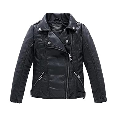 Amazon.com: Joseph Papa Teenager Baby Boys Leather Jacket Boys Casual Black Solid Children Outerwear Kids Girls Coats: Clothing
