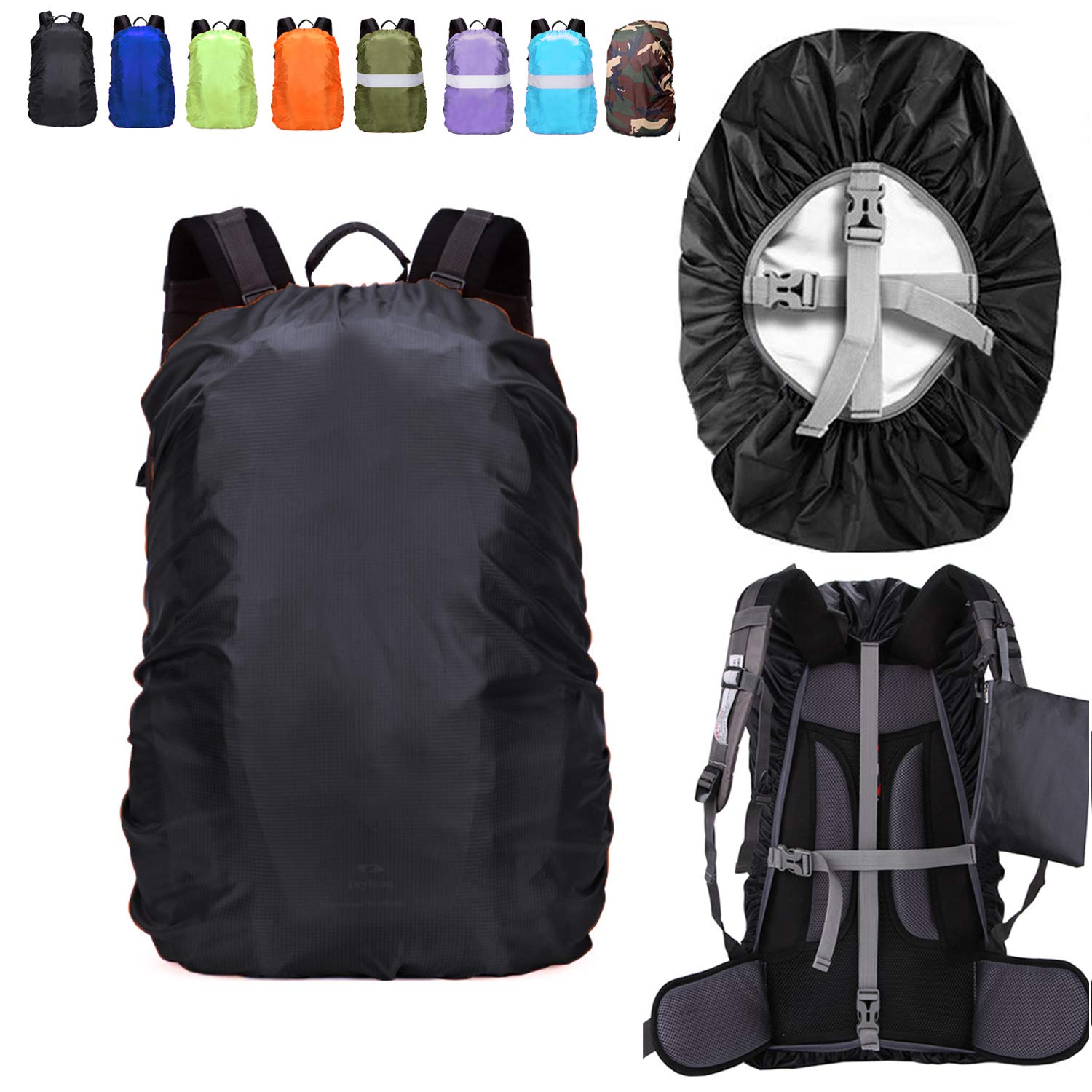 ZM-SPORTS 15-90L Upgraded Waterproof Backpack Rain Cover,with Vertical Adjustable Fixed Strap Avoid to Falling,Gift with Portable Storage Pack (Black, XL(for 50-65L Backpack) by ZM-SPORTS