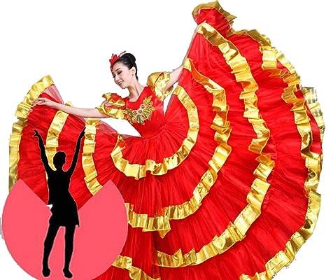 ZYLL Falda Flamenca, Traje de Falda de Gran Swing Falda de Danza ...