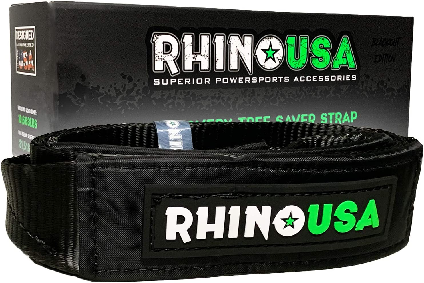 Emergency Offroad Rope Rhino USA Recovery Tow Strap 3 x 30ft Heavy Duty Draw String Bag Included Blackout Edition Lab Tested 31,518lb Break Strength Triple Reinforced Loop End