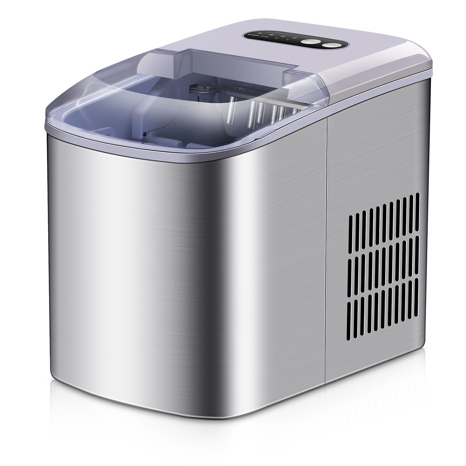 Portable Ice Maker - 2018 New Style Stainless Steel Countertop Ice Maker Machine, Get 9 Ice Cubes in as quick as 6 Minutes,Makes Over 26 lbs of Ice per Day Allsees A-03