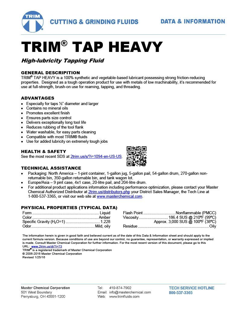 TRIM Cutting & Grinding Fluids TAPHVY/1 TAP HEAVY High Lubricity Tapping Fluid, 1 gal Jug