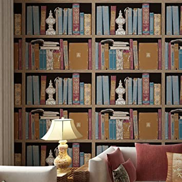 American retro3D stereo Bookshelf wallpaper/Chinese fake bookcase ...