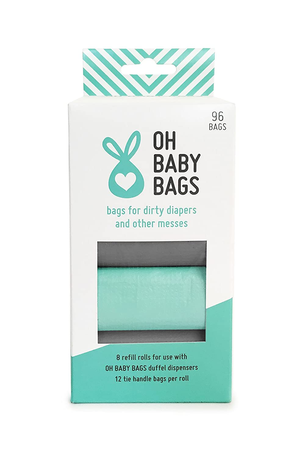 Oh Baby Bags Bulk Refill Box - Recycled Scented Disposable Plastic Bags for Dirty Diapers and Other Messes - Refills Only - 8 Rolls, 96 Bags Total - Seafoam and Gray H&PC-42614