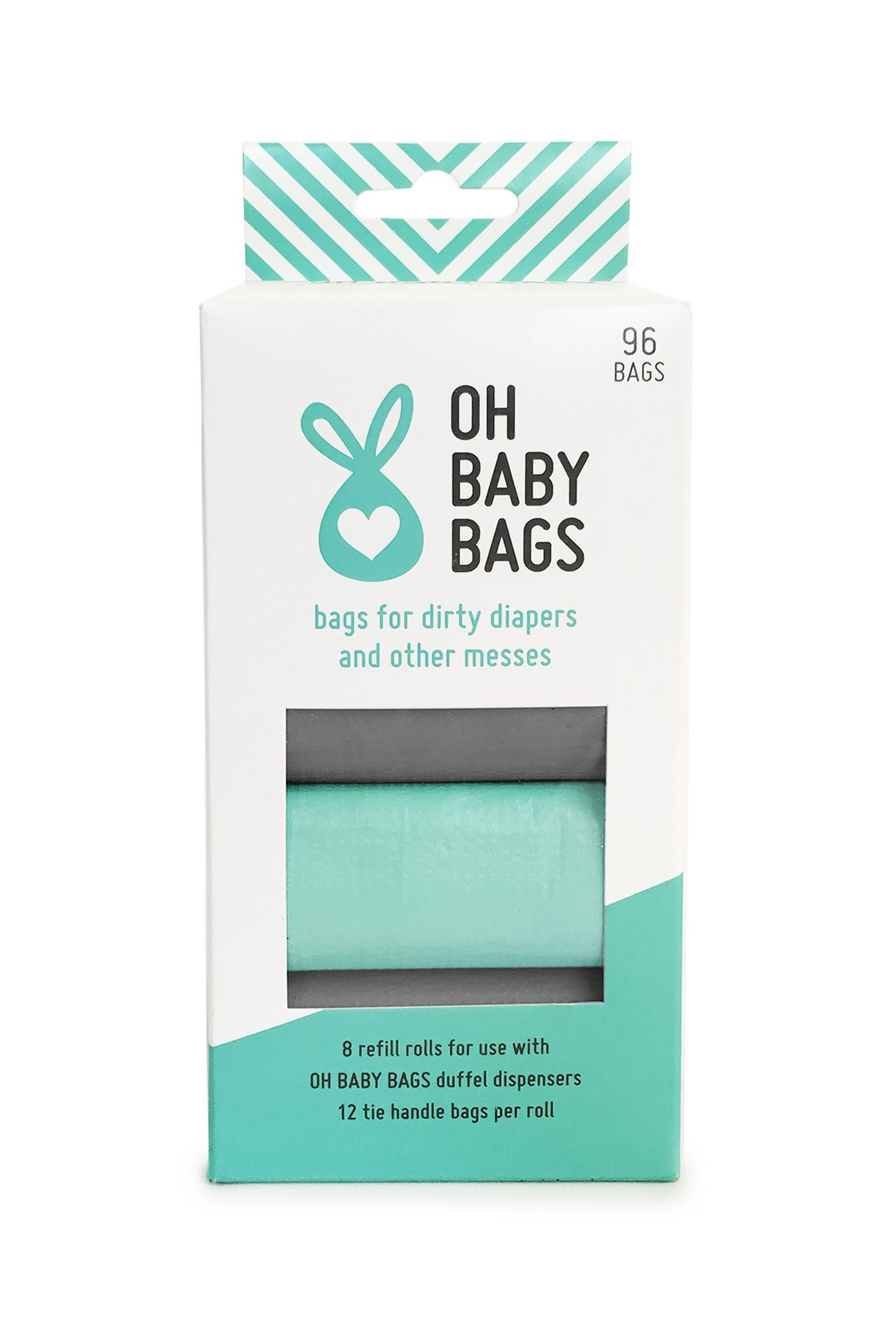 Oh Baby Bags Bulk Refill Box - Recycled Scented Disposable Plastic Bags for Dirty Diapers and Other Messes - Refills Only - 8 Rolls, 96 Bags Total - Seafoam and Gray
