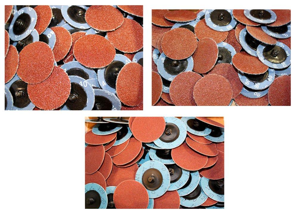 Car Builder Supply CBS-AOK1 Sand Loc Quick Change Typr R Premium Aluminum Oxide AO Grinding Sanding Disc 2'' 150pc Kit 40g 80g 120g by Car Builder Supply (Image #1)