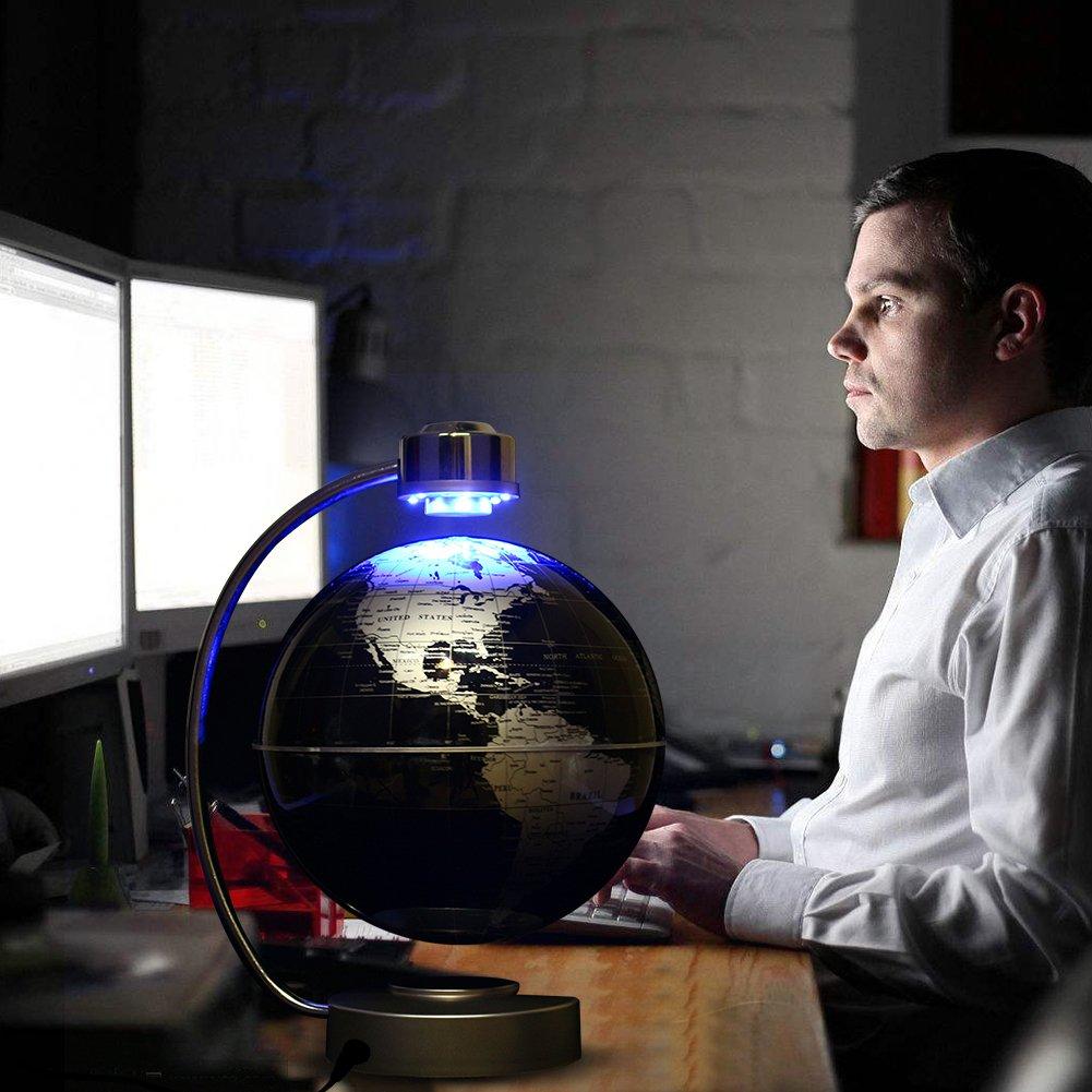 World Map Globe Ball. Magnetic Levitation Floating World Map Globe 8  Rotating Planet Earth Ball with LED Desk Display