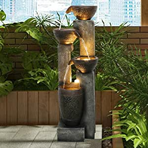 Hamiedun 40''H 4-Tier Outdoor Garden Water Fountain Decor, Resin Fountain for Garden, Floor Patio, Deck, Porch, Backyard and Home Art Decor (Dark Gray, 40inch)