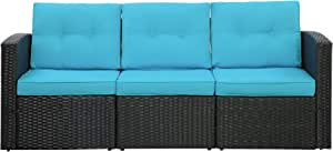 3-Seat Outdoor Patio Sofa, PE Rattan Wicker Sectional Couch Furniture Aluminum Frame with Cushions Lawn Balcony Poolside or Backyard (Black/Blue)