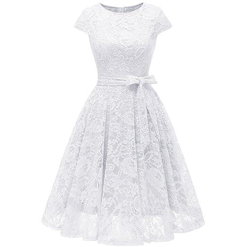 MuaDress Vestido Cóctel Corto Encaje Plisado A-Línea con Cinturón Y Manga Corta Elegante Mujer