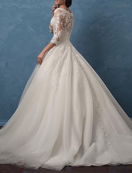 Gotidy Bateau Neck Illusion Neck Sheer Lace Vestido De Novia Vintage Bridal Gowns Half Sleeves G20 at Amazon Womens Clothing store: