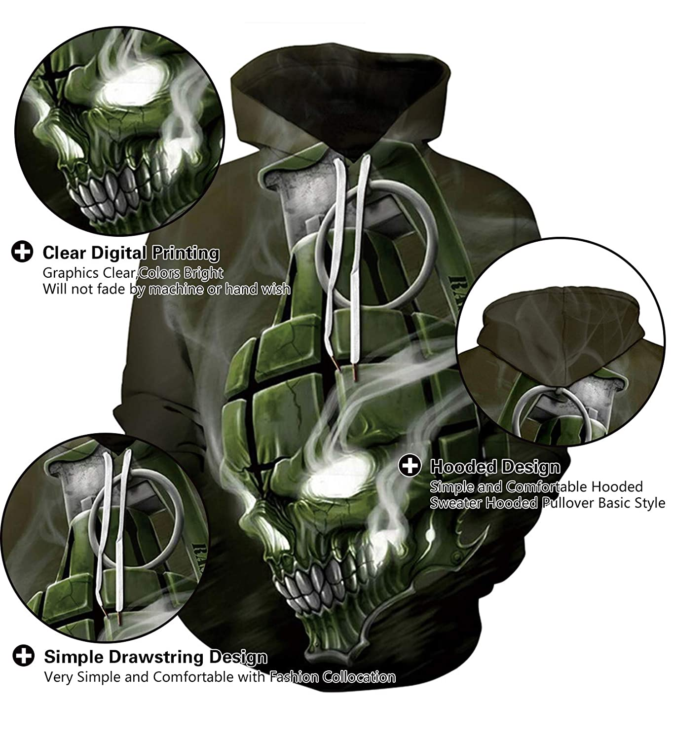 8603da31e8be Amazon.com  Memoryee Unisex 3D Skull Head Hoodie Novelty Personalised  Sweatshirt Pullover Hooded Stretch S-3XL  Clothing