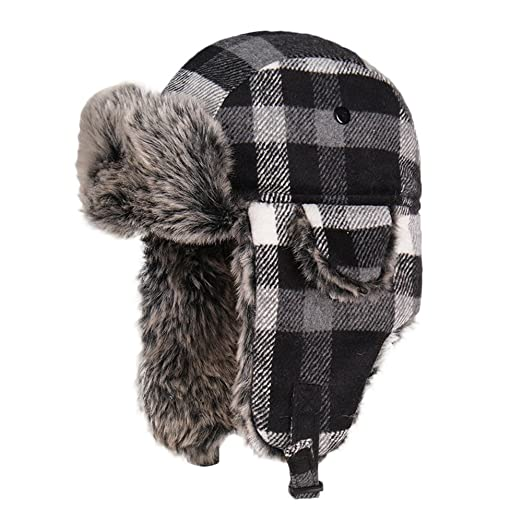 LIXYIT Plaid Aviator Trapper Ushanka Ski Hat Trooper Winter Russian Cap  With Earflaps Gray (Free 15b22948b5c1