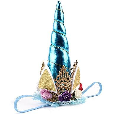 FAIRY COUPLE Niñas Unicornio Venda Fiesta de Cumpleaños Sombrero Corona A-H027 Azul: Amazon.es: Ropa y accesorios
