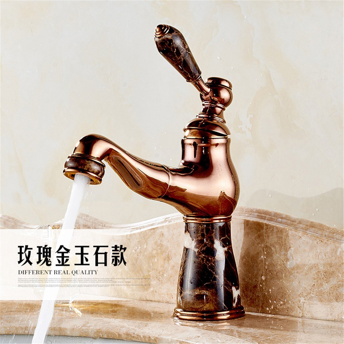 Fbict European Natural Jade Faucet Copper Pull Faucet Bathroom Basin Single Hole Basin hot and Cold Water Faucet, pink gold Jade Pull for Kitchen Bathroom Faucet Bid Tap
