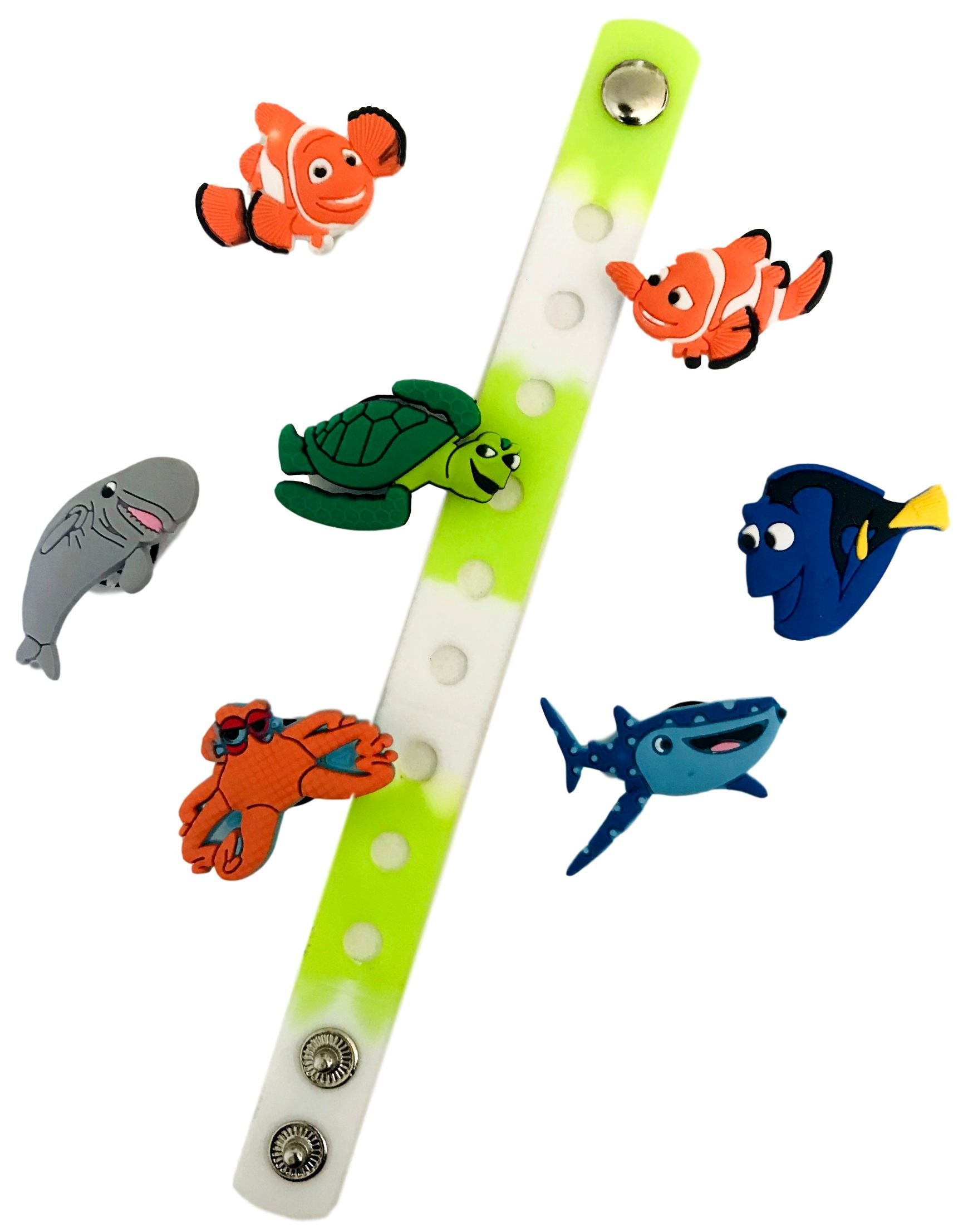 Cute Jibbitz Shoe Charms PVC Plug by Nenistore|Accessories for Croc Shoes & Bracelet Wristband Party Gifts | Finding Nemo (7pcs) FREE 01 Silicone Wristband 7 Inches