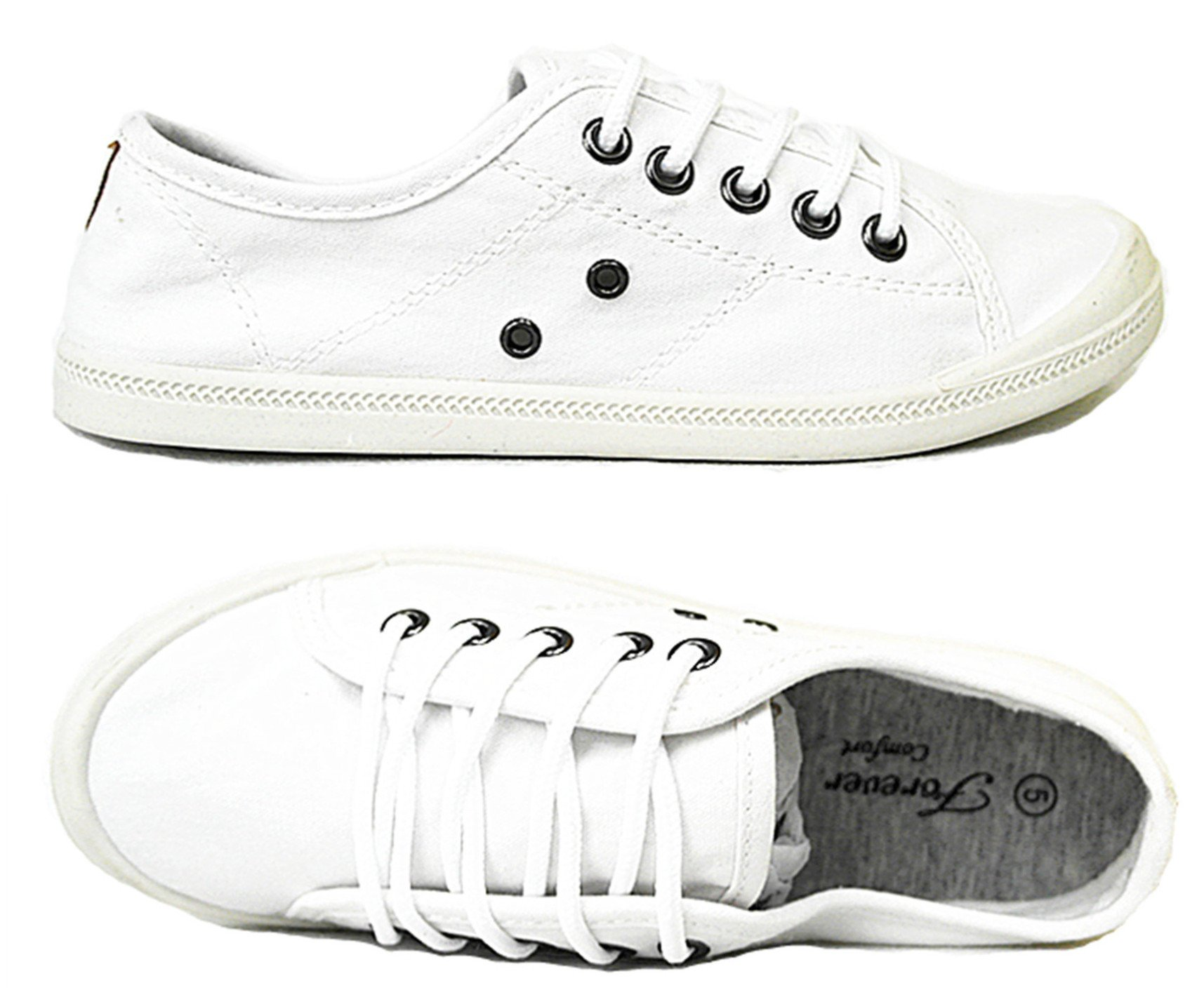 Forever Link Comfort Women's Lace up Casual Street Sneakers Flat Shoes (10, White-04)