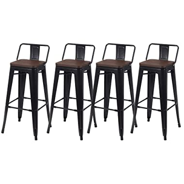 Kmax Industrial Metal Bar Stools Set - Height Bar Stools Chairs with Wood Seat & Backs Indoor Outdoor, 30 , Set of 4, Black