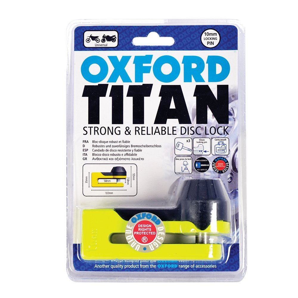 Oxford OF51 Titan Disc-Lock and Pouch Yellow