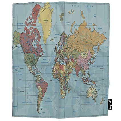 Amazon Com Mugod Political World Map Throw Blanket Mercator