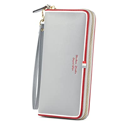 0384509856d4 Kattee 長財布 レディース 大容量 ウォレット 人気 ファスナー 持ち手付き PU グレー