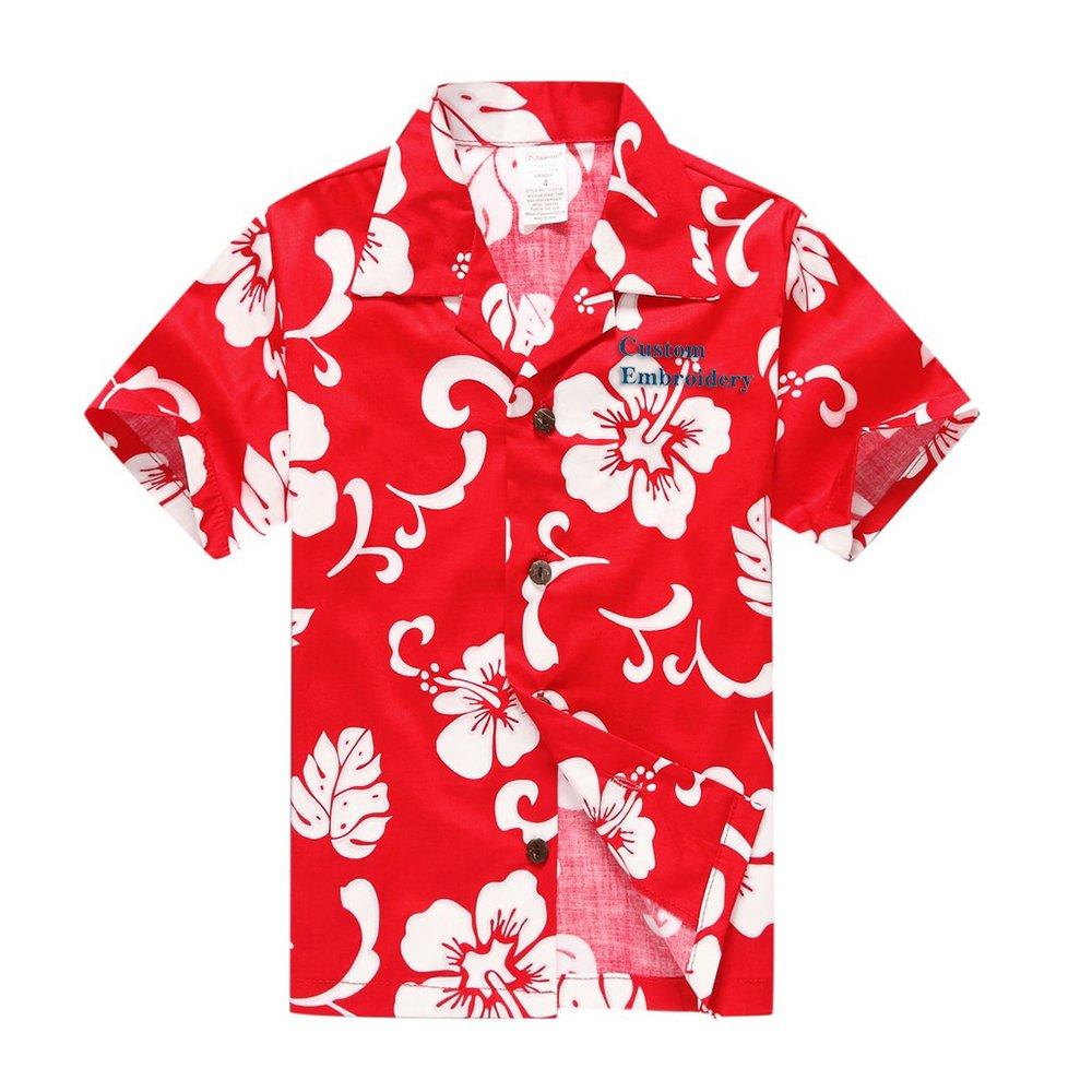 Boy Hawaiian Aloha Luau Shirt and Shorts 2 Piece Cabana Set in Red Hibiscus Palm Wave 049103