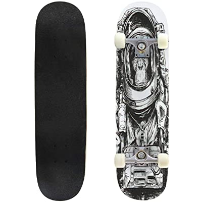 Classic Concave Skateboard Hand Drawn Monkey Astronaut Vector Longboard Maple Deck Extreme Sports and Outdoors Double Kick Trick for Beginners and Professionals : Sports & Outdoors