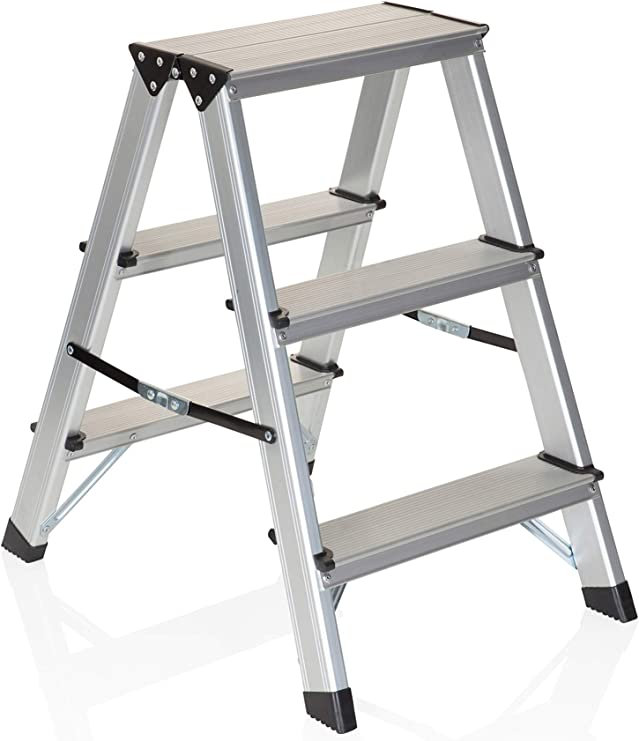 hjh OFFICE 801103 escalera plegable SOLID aluminio 3 peldaños gran ...