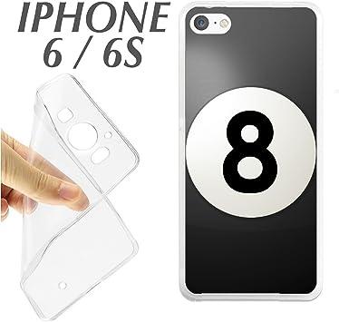 K167 FUNDA CARCASA IPHONE 6 6S BLANDA GEL TPU BOLA NEGRA BILLAR 8 ...