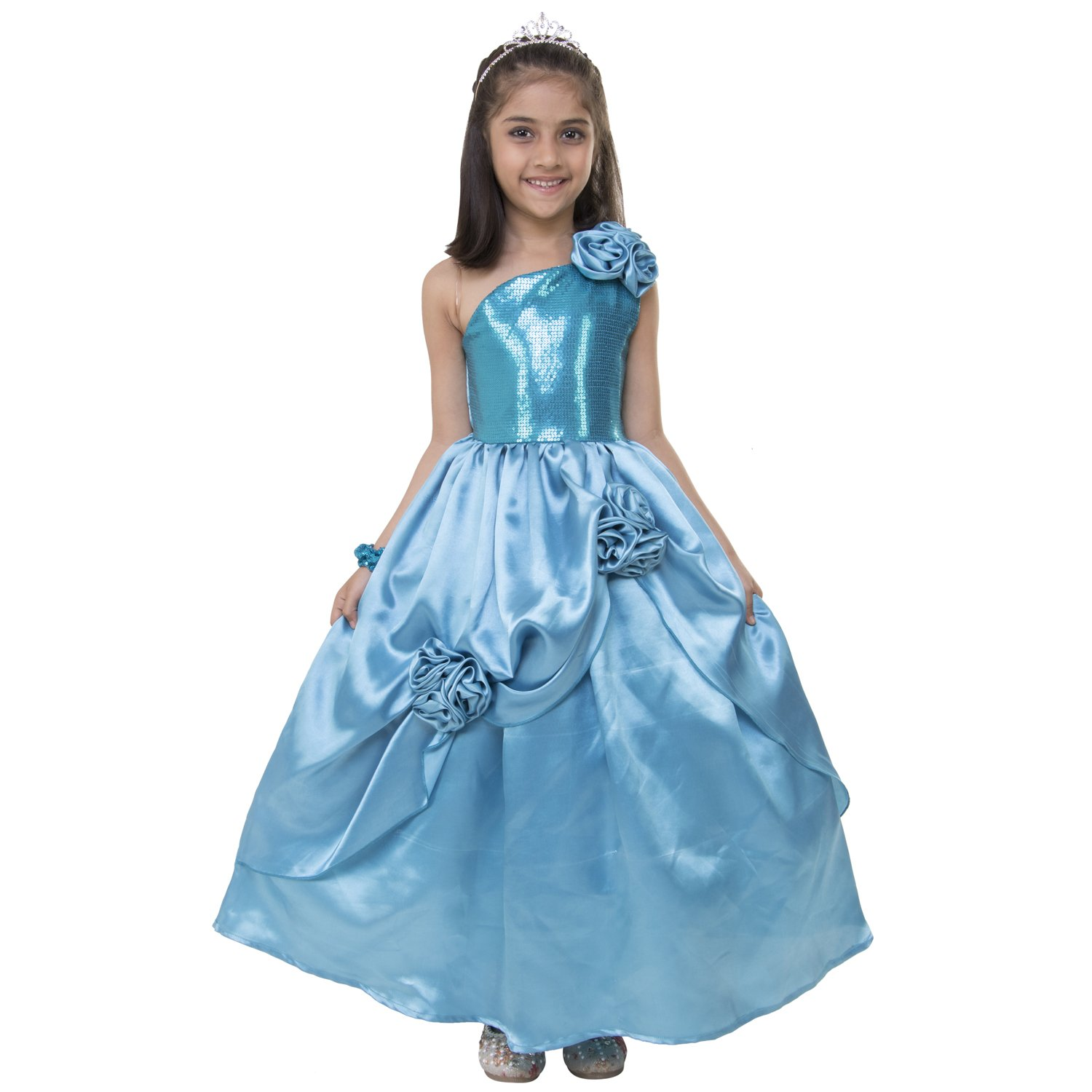 Samsara Couture Baby Girls Elsa Dress Sky Blue Sequence and Satin ...