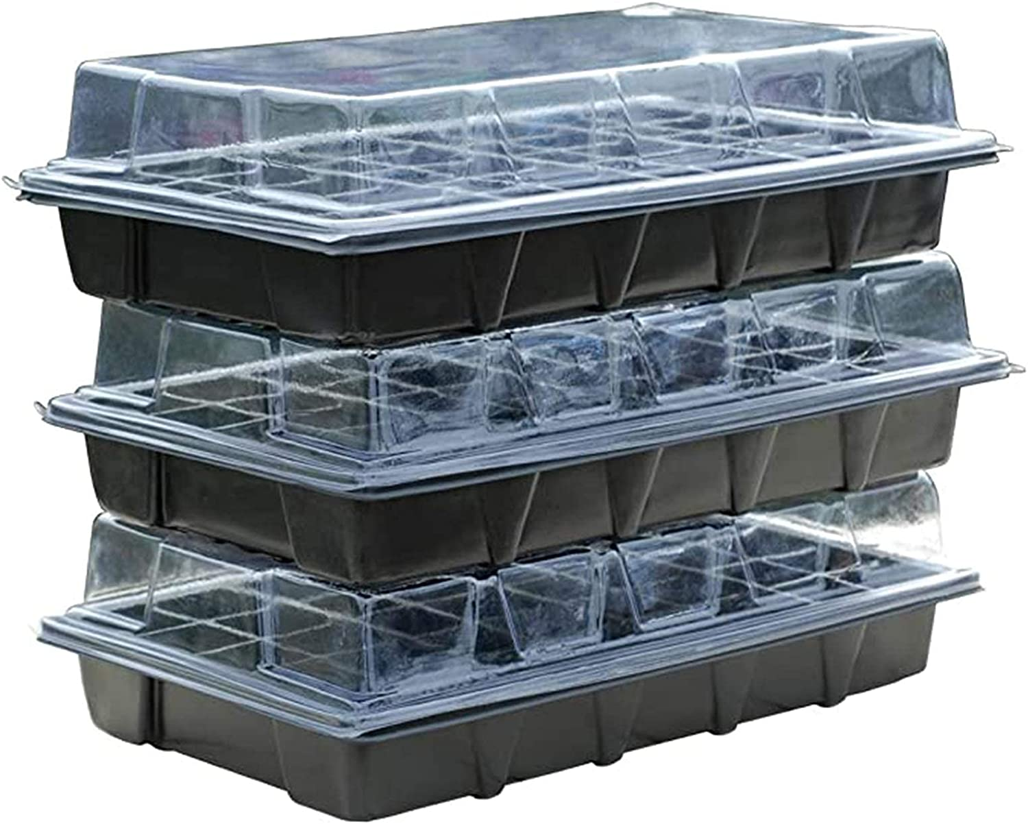 Greenhouse with Transparent Lid for Growing 3Pcs Seedlings, The Plastic Garden Tray, Small Greenhouse, A Moisturizing Incubator, for Interior/balcony (Color : Clear, Size : 54x28x24cm)Product No.:WW-