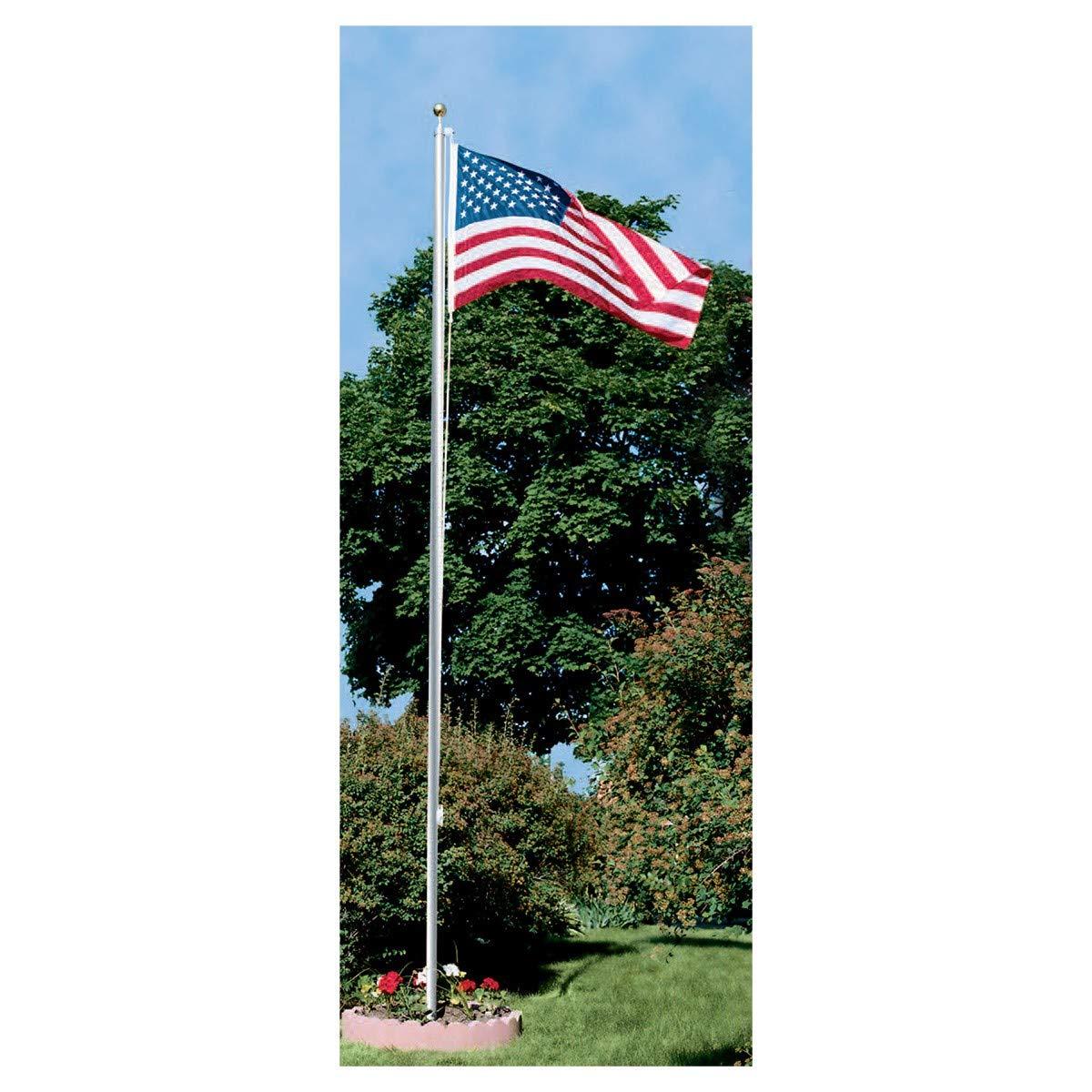 Super Tough 25ft Outdoor Flagpole Kit American Flag (4x6 Nylon, Satin)