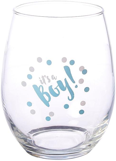 9d680fef729 Kate Aspen 30023NA-BOY2 It's a Boy 15 oz. Stemless (Set of 4) Wine Glasses  Clear