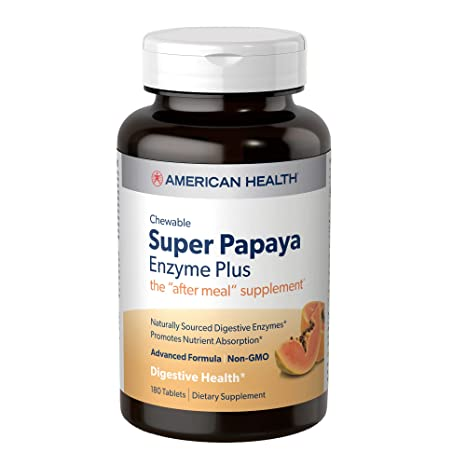 American Health Super Papaya Enzyme Plus Chewable Tablets, Natural Papaya Flavor - Promotes Digestion & Nutrient Absorption, Contains Papain & Other Enzymes - 180 Count, 60 Total Servings