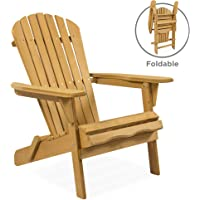 Best Choice Products Outdoor Foldable Wooden Adirondack Chair (Natural Finish)