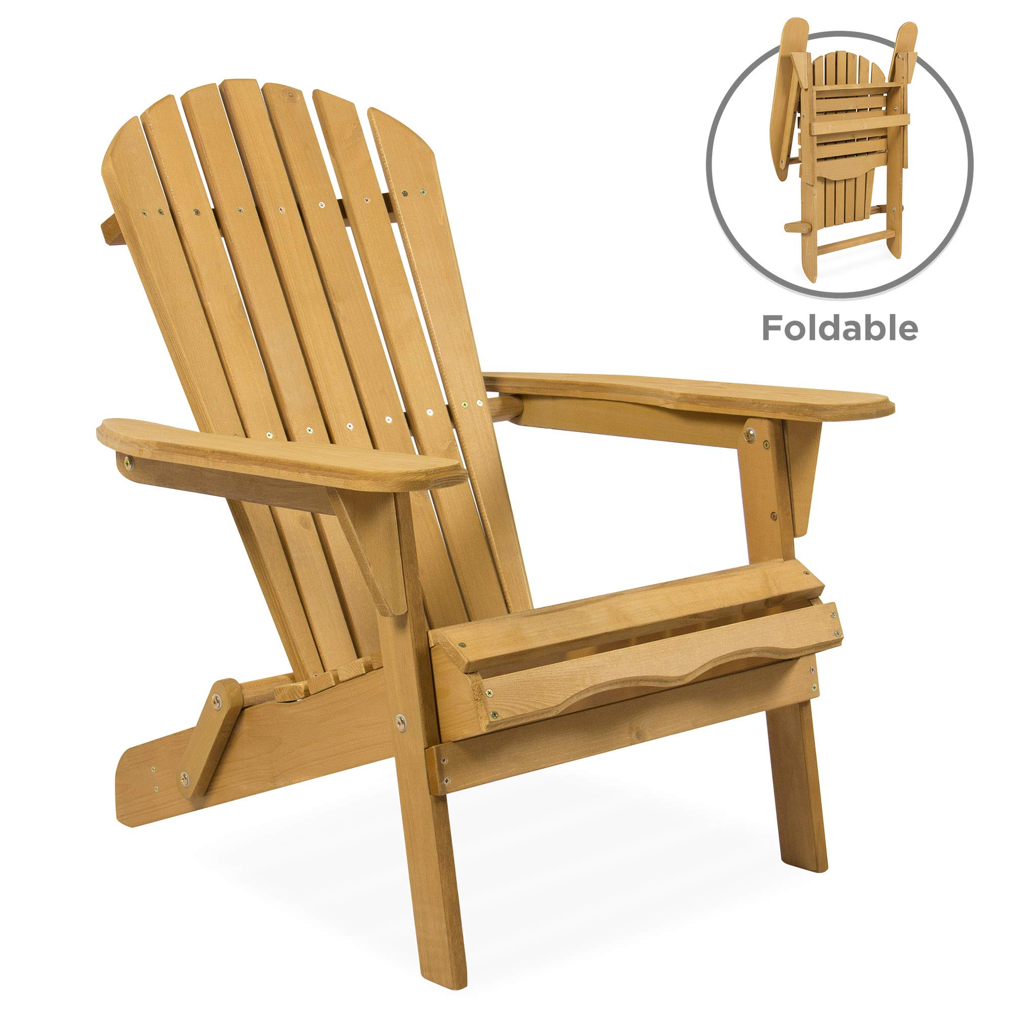 Best Choice Products Folding Wood Adirondack Lounger Chair Accent Furniture for Yard, Patio, Garden w/ Natural Finish, Brown by Best Choice Products