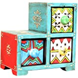 Home and Bazaar 3-Drawer wooden Chest with Ceramic Drawers