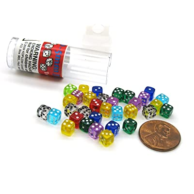 Tiny Dice: Deluxe Transparent: 30pc Assorted Colours: Toys & Games