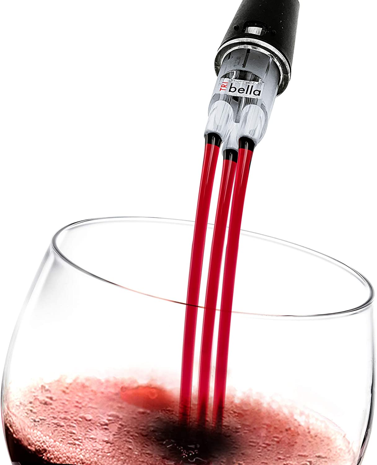Wine Aerator with Single-Injected Polycarbonate Spouts, Handmade Easy-to-Use, No-Drip Wine Pouring Device, Red Wine Decanter, Wine Pouring Accessory, Air Speed - TRIbella