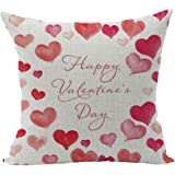 Ruideng Lover Heart Pattern Cotton Linen Square Throw Pillow Case Decorative Cushion Cover Pillowcase Cushion Case for Sofa,Bed,Chair,Bedding 18 X 18 Inch (Happy Valentine's Day)