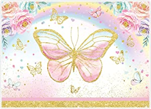 Allenjoy 7x5ft Pink Flower Butterfly Party Backdrop for Girl Princess Fairy Floral Spring Garden Tea Party Baby Shower 1st Birthday Decorations Supplies Banner Photography Background Photobooth Prop