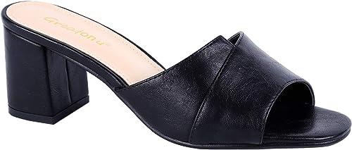 incredible prices detailed look presenting Greatonu Womens Mules Slip On Mid Chunky Block Heels Sandals ...