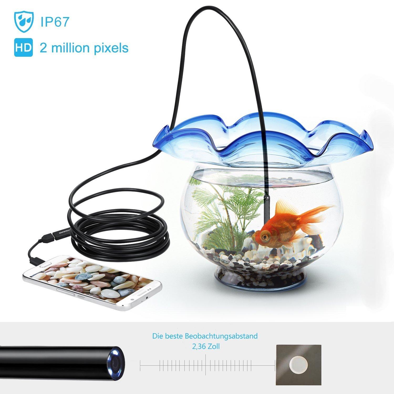 Endoscopio con USB Depstech semirr/ígido con c/ámara de inspecci/ón de 2,0 megap/íxeles con 6 luces LED ajustables impermeable 5 m